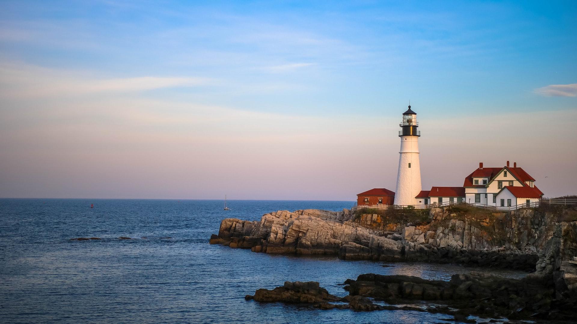 A Lighthouse illuminating the sea