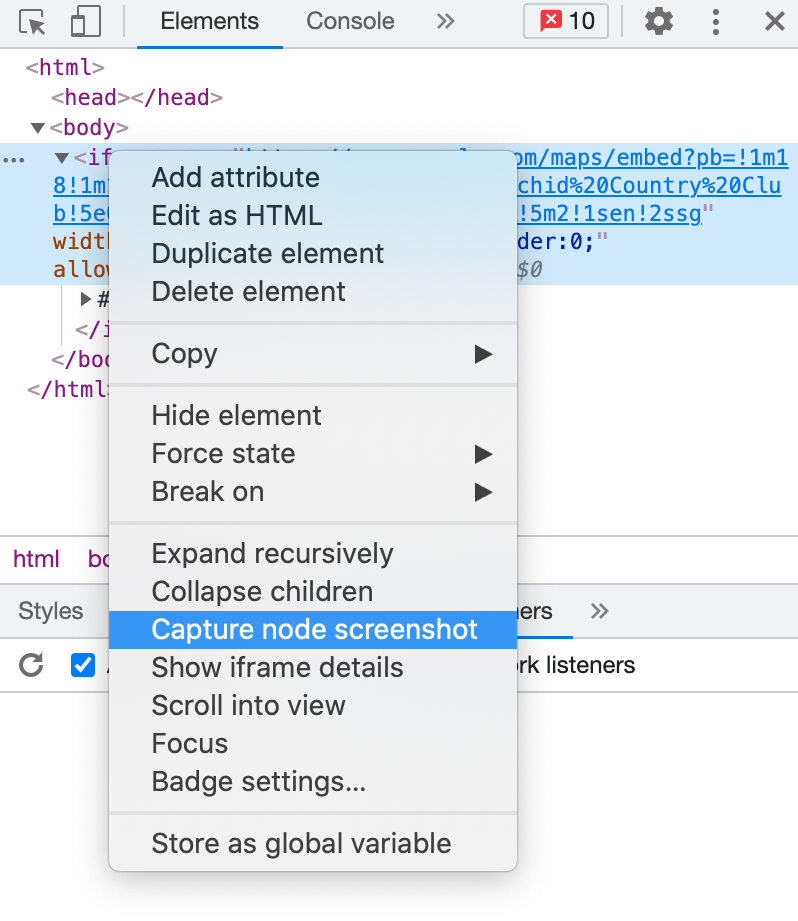 Capture node screenshot