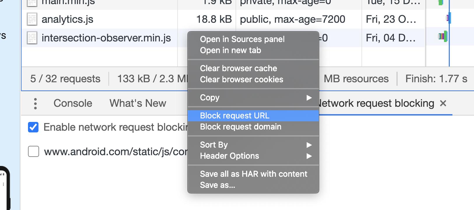 Block request URLs in DevTools