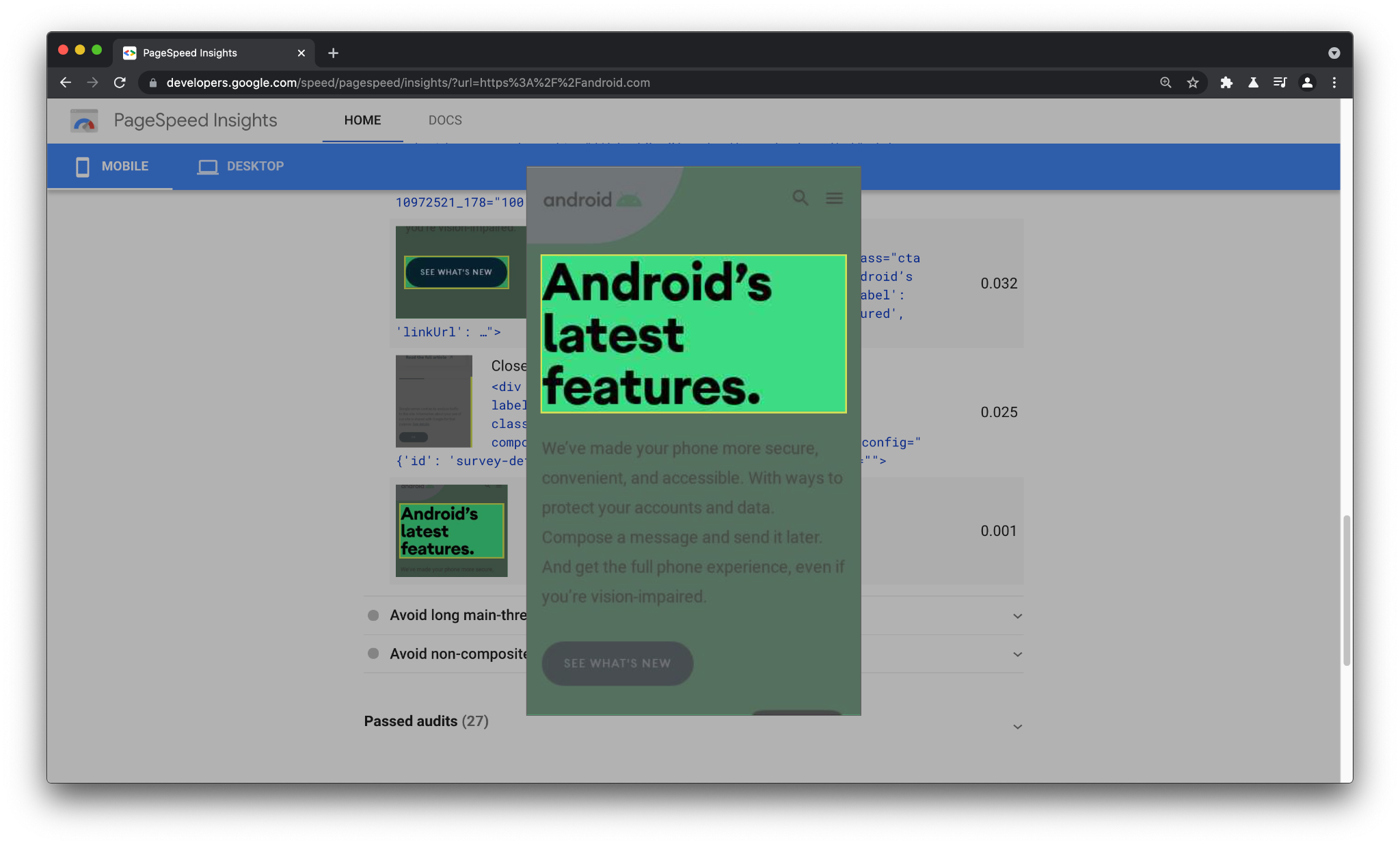 Element Screenshots highlighting the DOM node contributing to layout shift in the page