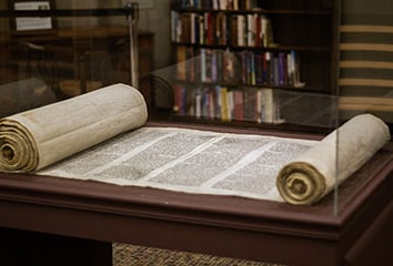 The unveiling of the new Torah display at Trinity International University, photo by Taylor Wilcox.