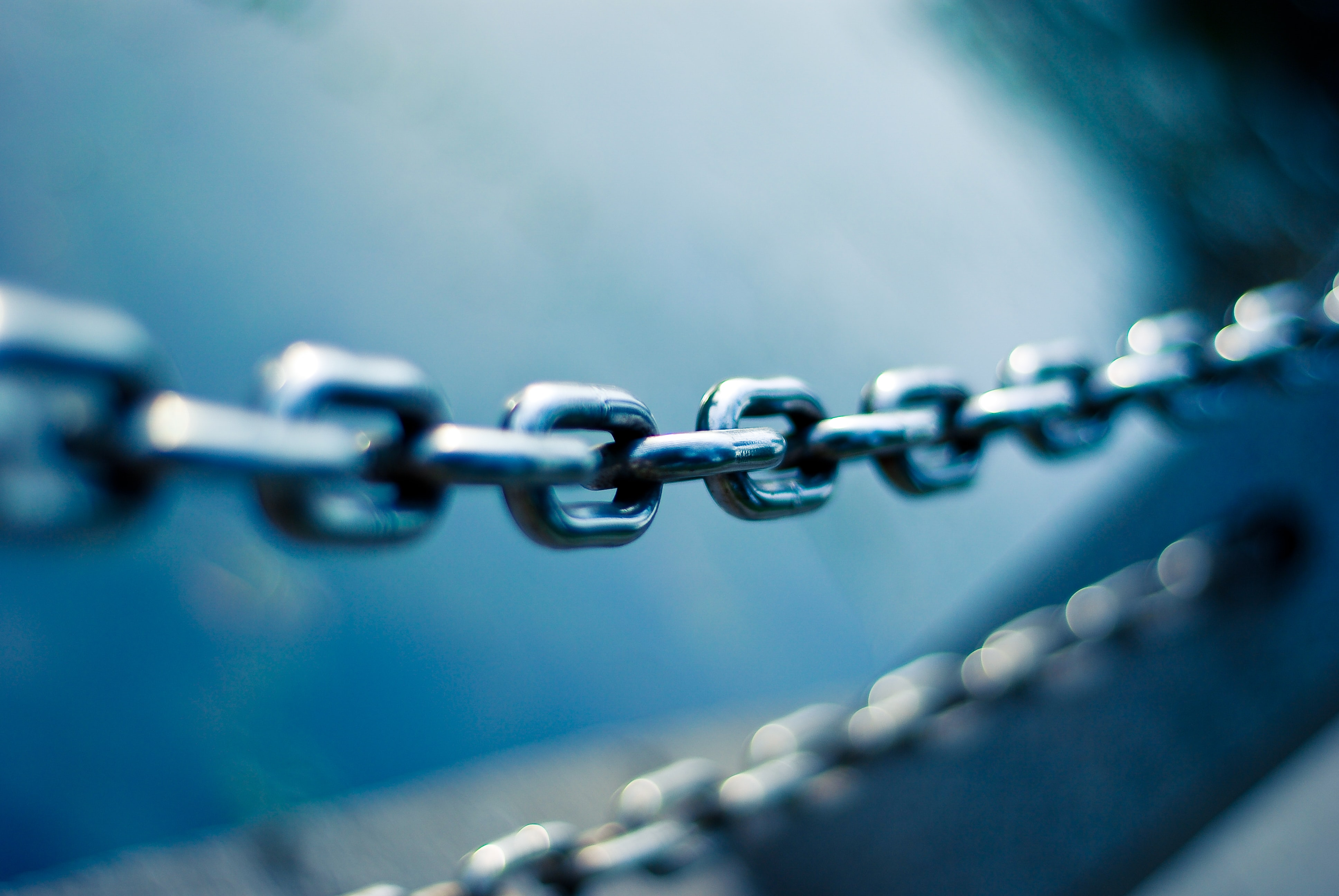 A metal chain used as the symbol for links.
