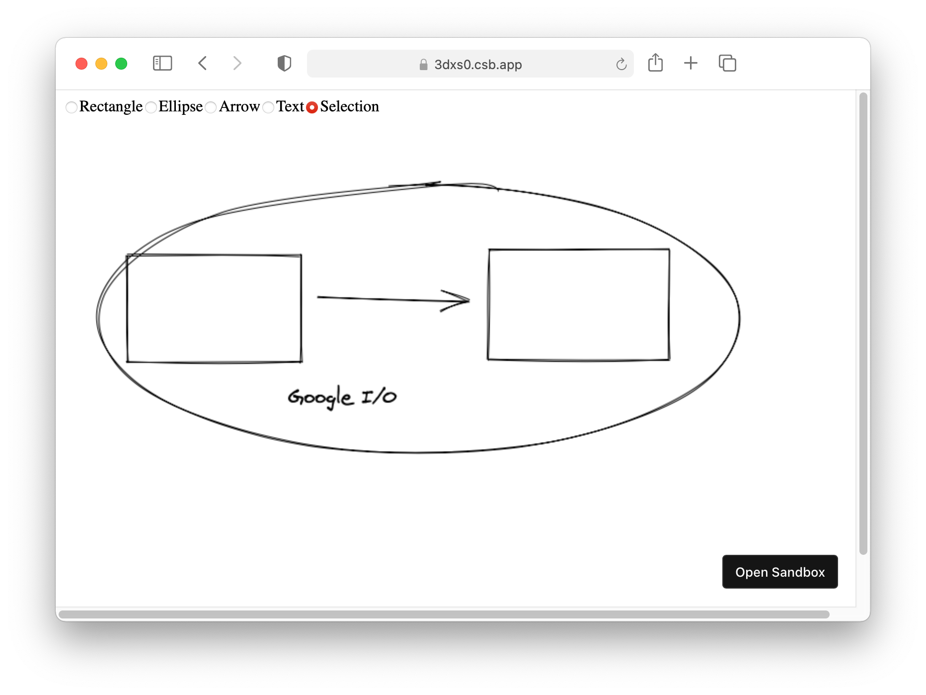 Screenshot of the Excalidraw prototype application showing that it supported rectangles, arrows, ellipses, and text.