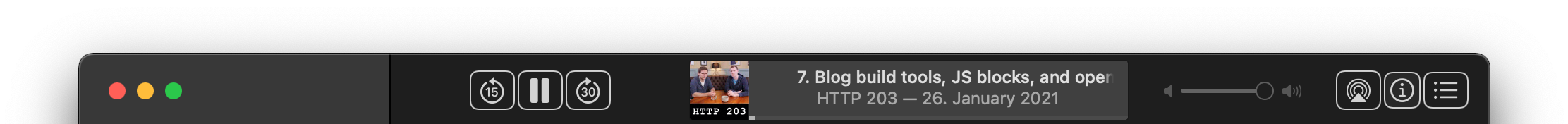 macOS Podcasts app title bar showing media control buttons and metadata about the currently playing podcast.