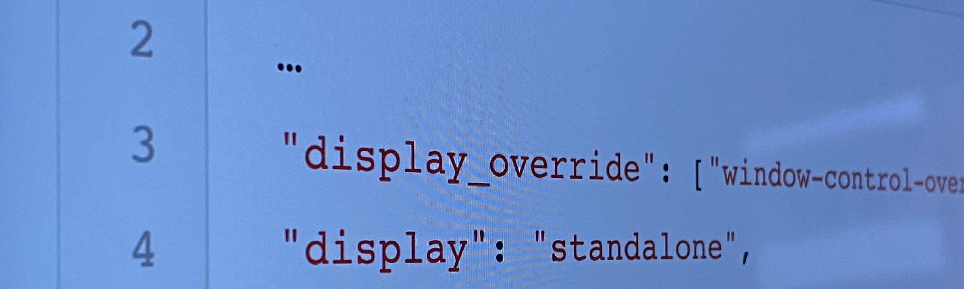Web App Manifest source code excerpt.