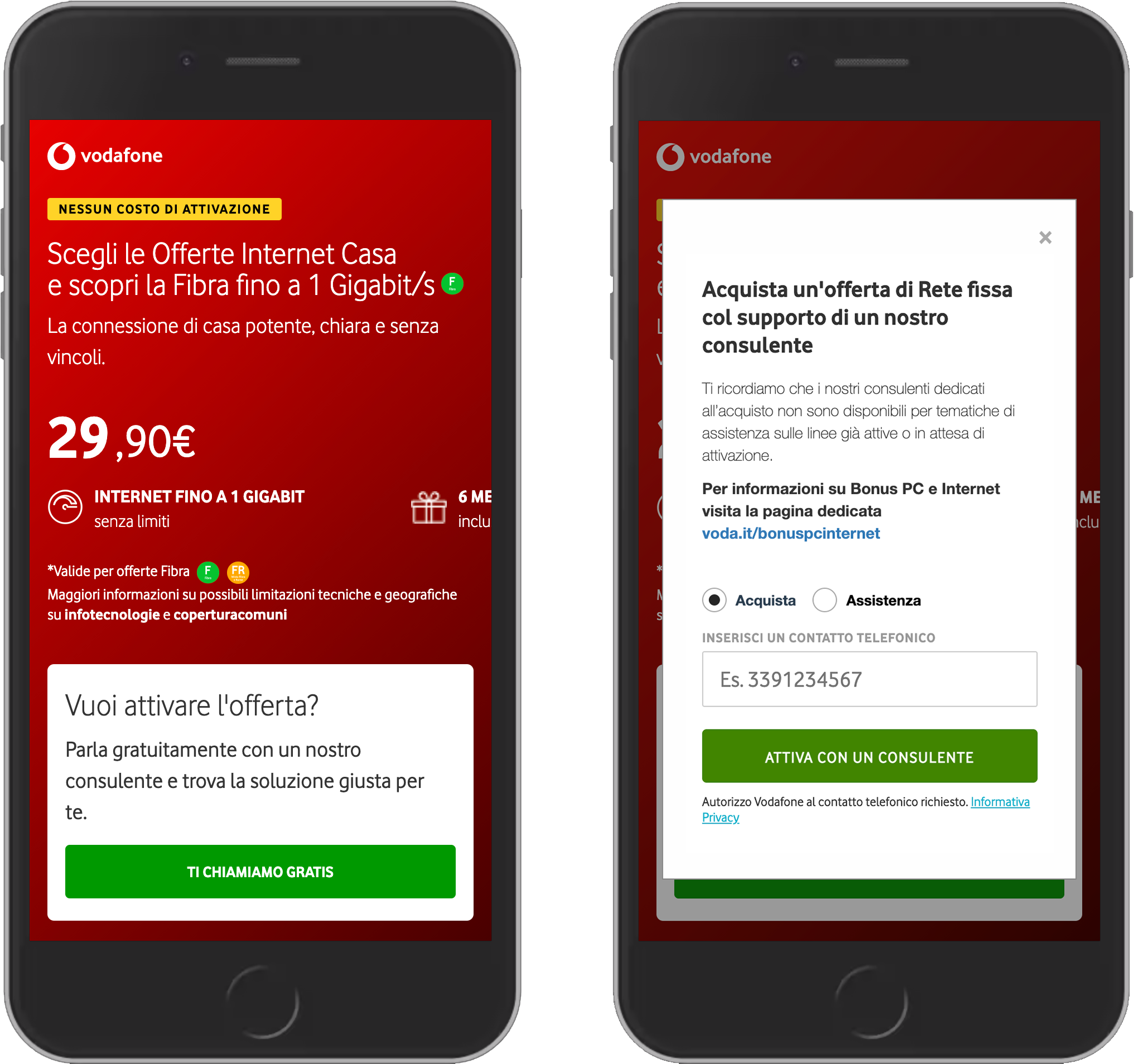 Two screenshots of the Vodafone website.
