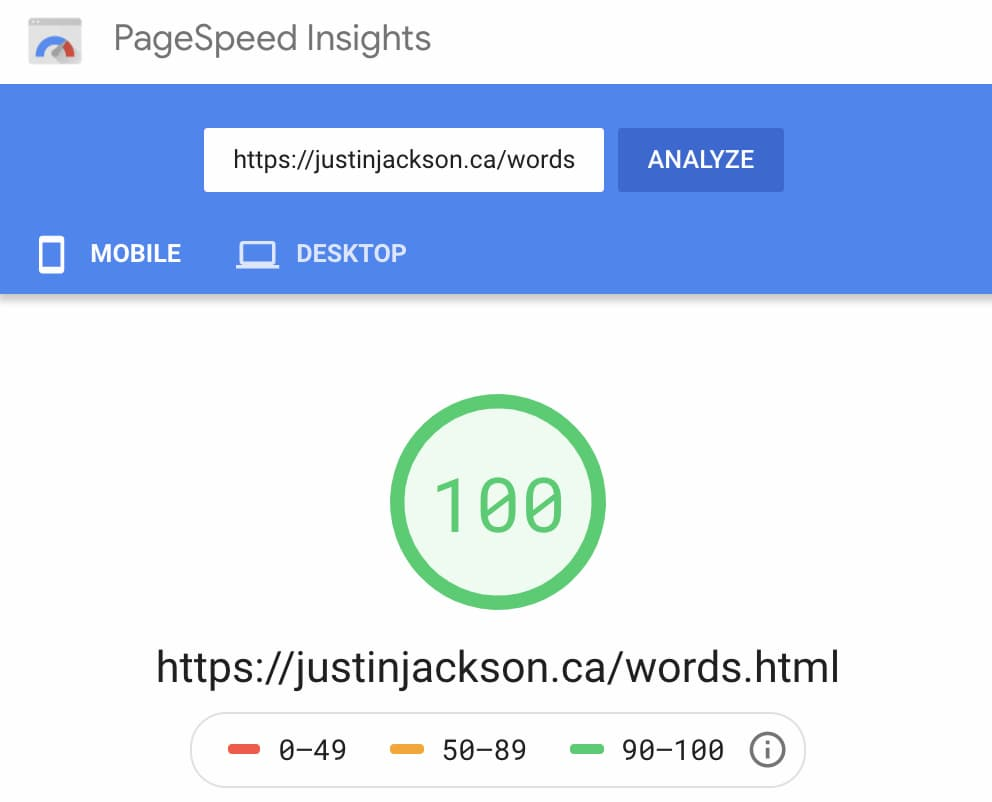 PageSpeed Insights Example