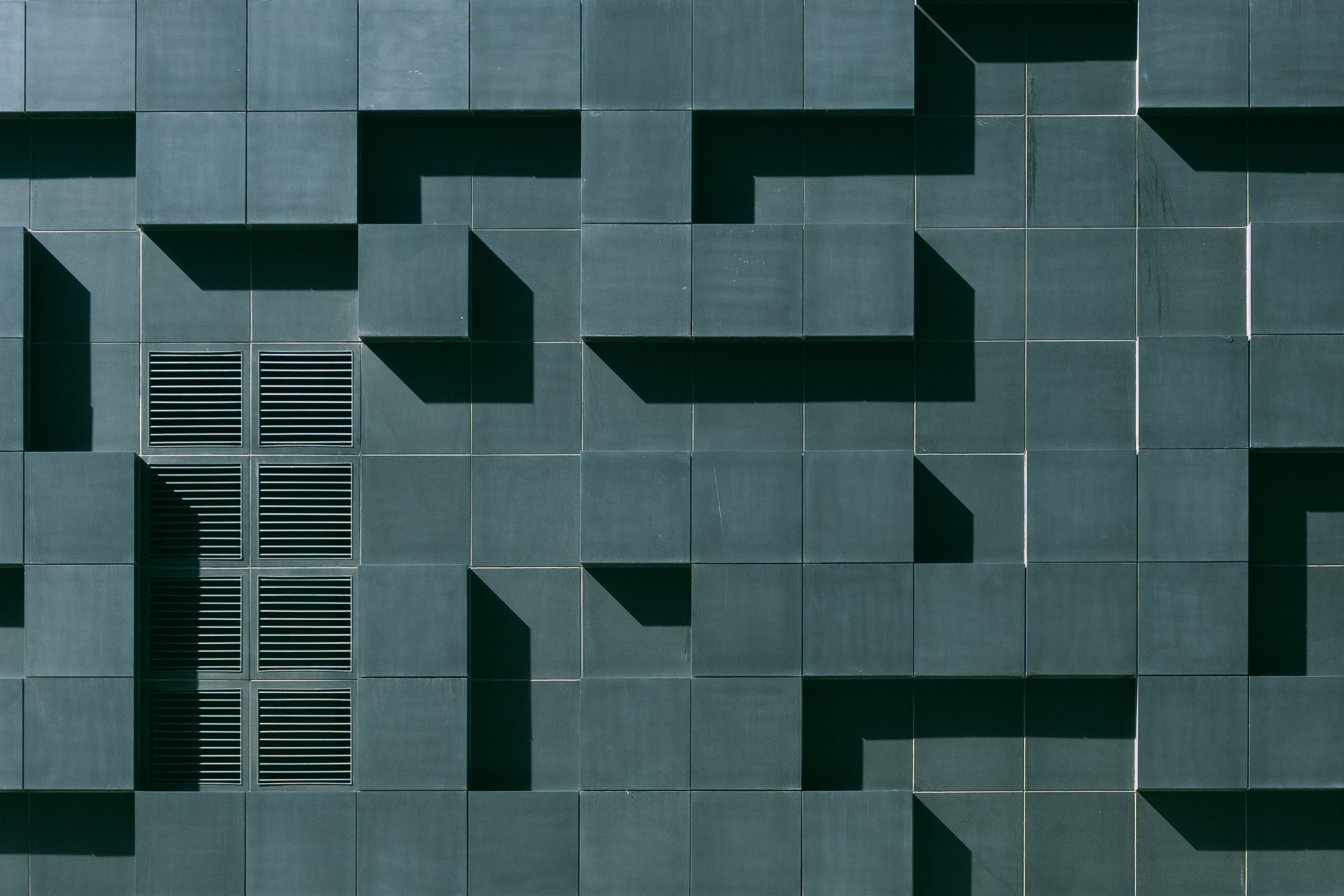 Modular, abstract architecture.
