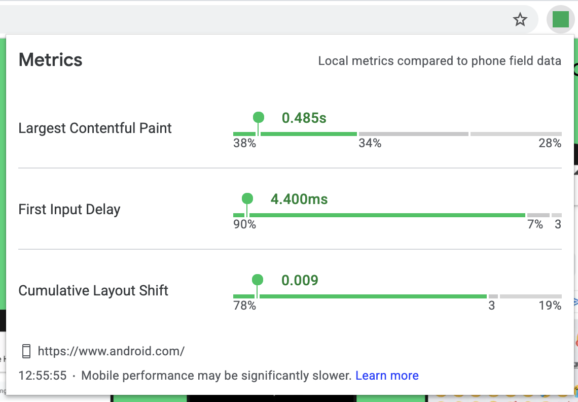 Screenshot of the Web Vitals extension showing local metrics compared to phone field data.