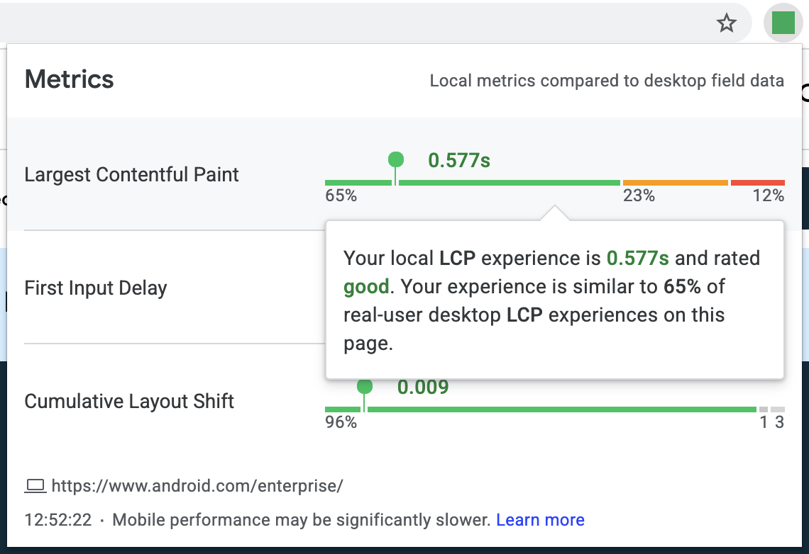 Screenshot of the Web Vitals extension showing an explanation of how the local LCP experience relates to real-user desktop data from the field.