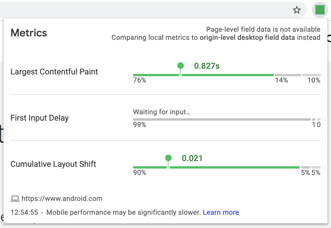 """Screenshot of the Web Vitals extension showing origin-level desktop field data with """"Waiting for input…"""" for the FID results."""