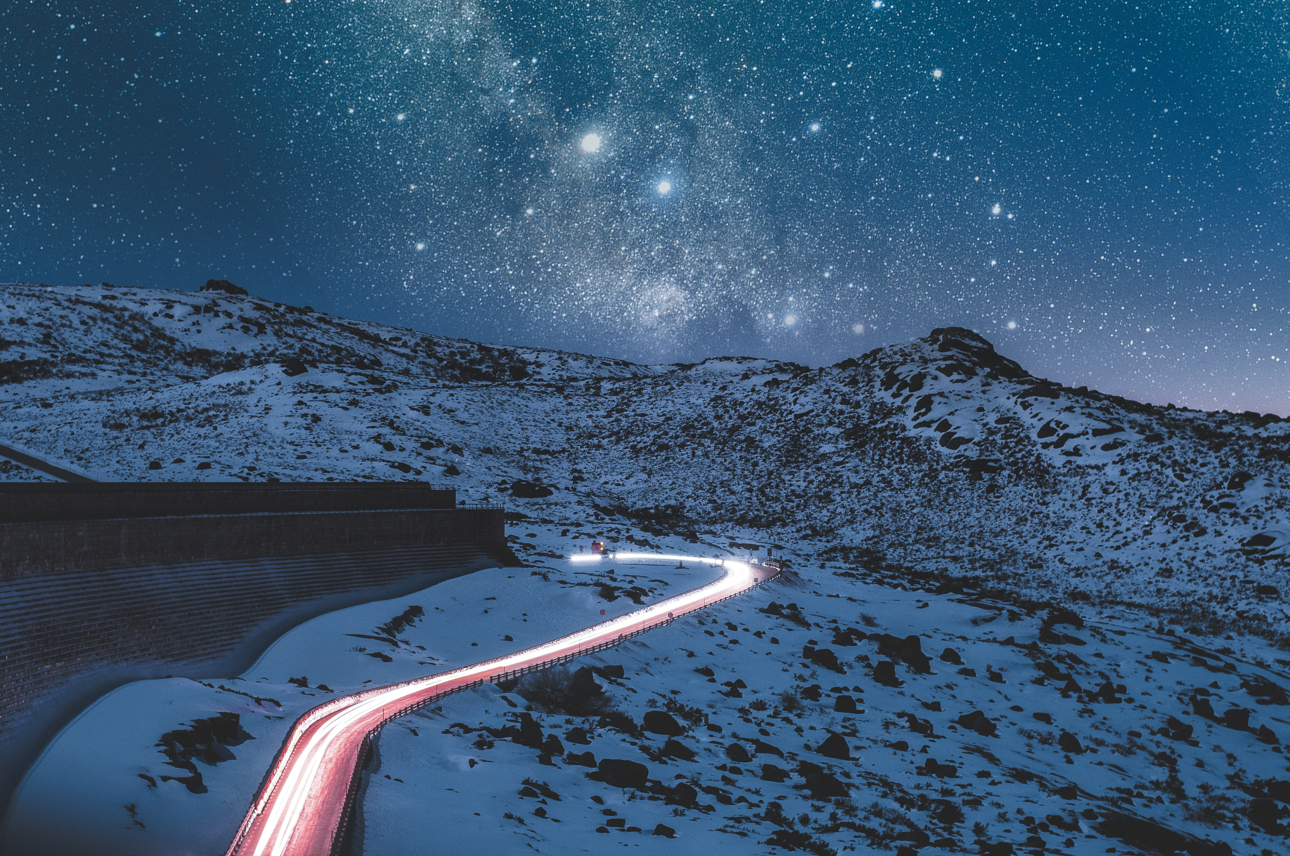 A brightly lit route through a cold, dark landscape. Follow that path!