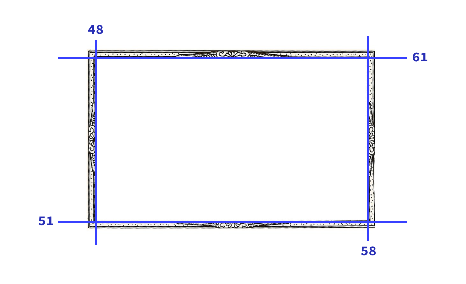 The image used in the demo with the four slices shown with blue lines