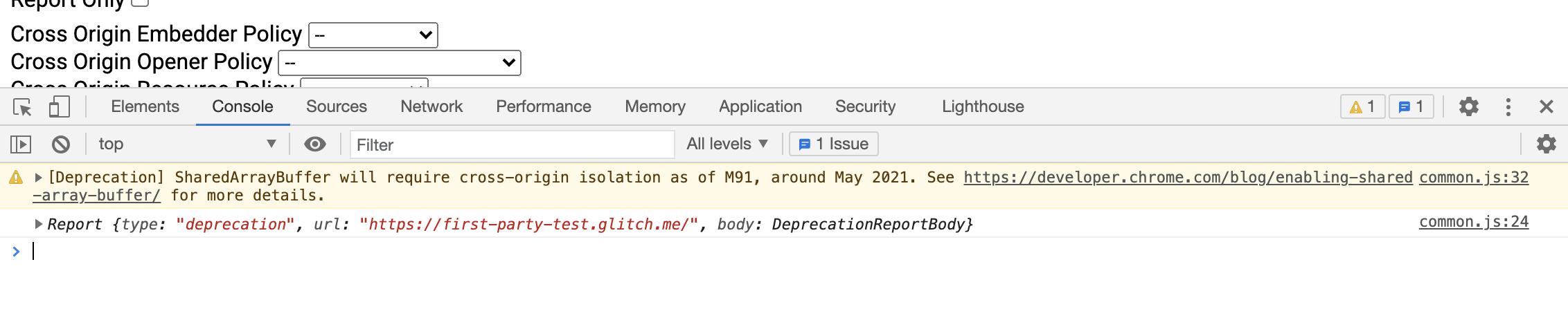 Предупреждение в консоли DevTools об использовании SharedArrayBuffer без межсайтовой изоляции