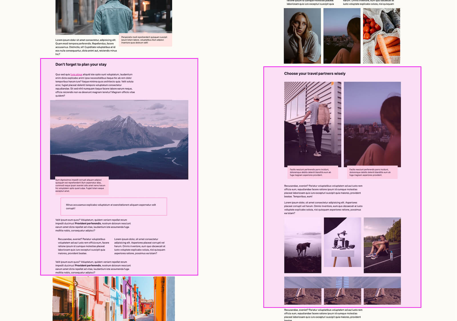 An annotated screenshot of chunking content into sections with a CSS class.