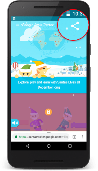 The Santa Tracker app showing a share button.