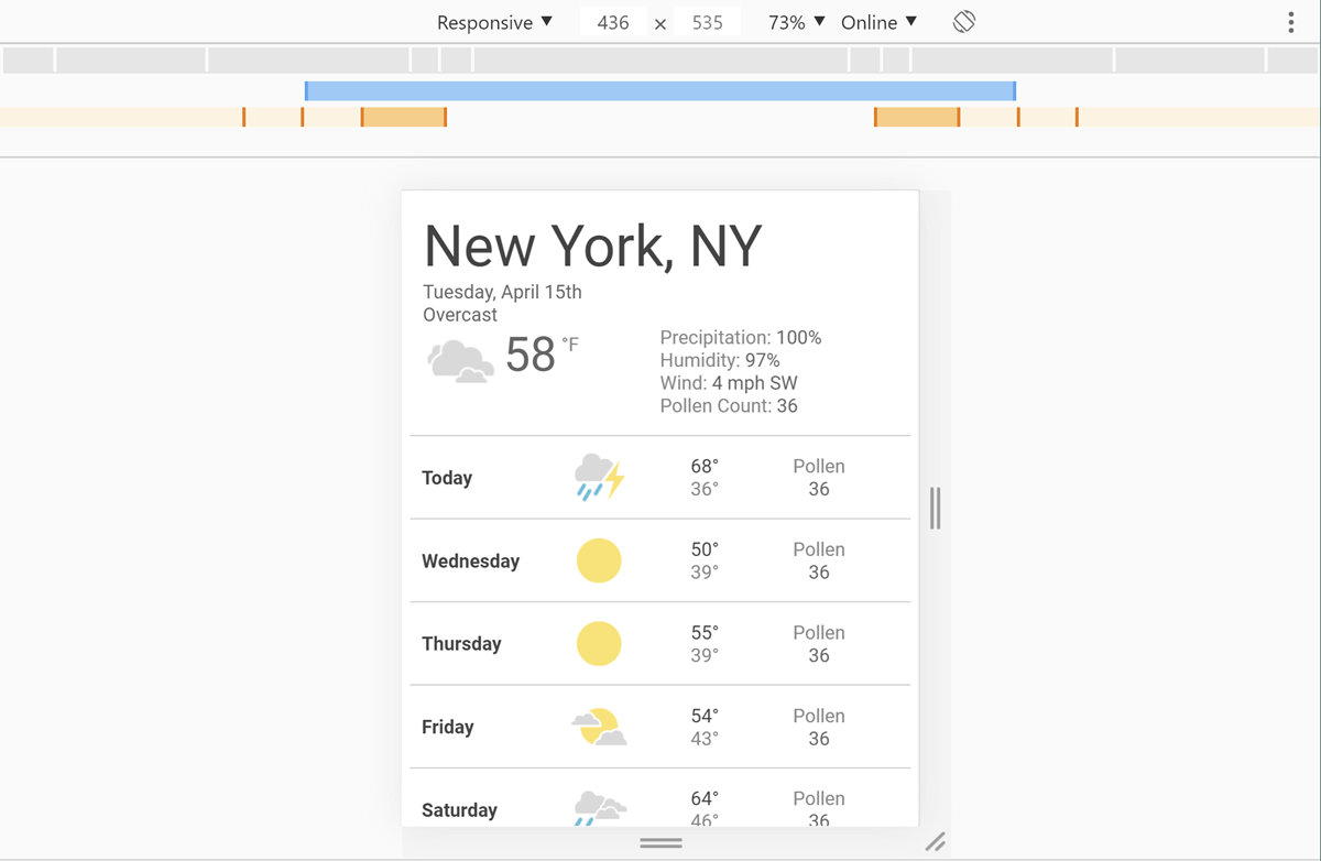 Screenshot of DevTools with our weather app open and a width of 436 pixels selected.