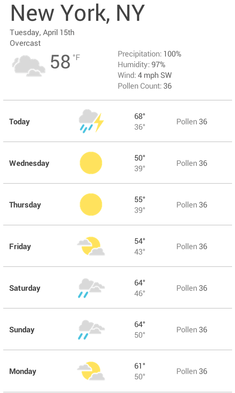 Screenshot of a weather app at a mobile width