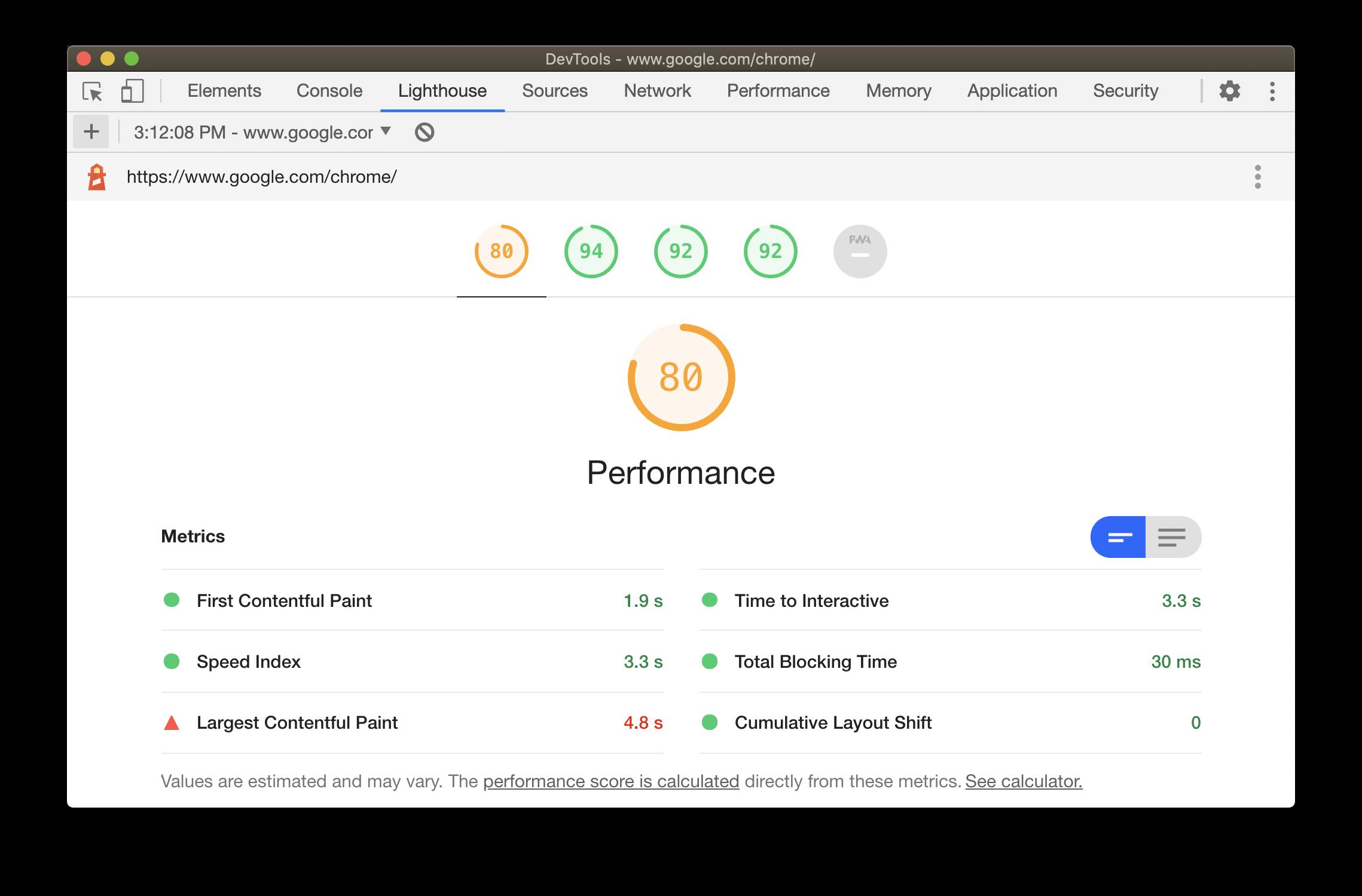Lighthouse 6.0 с актуальными показателями Core Web Vitals