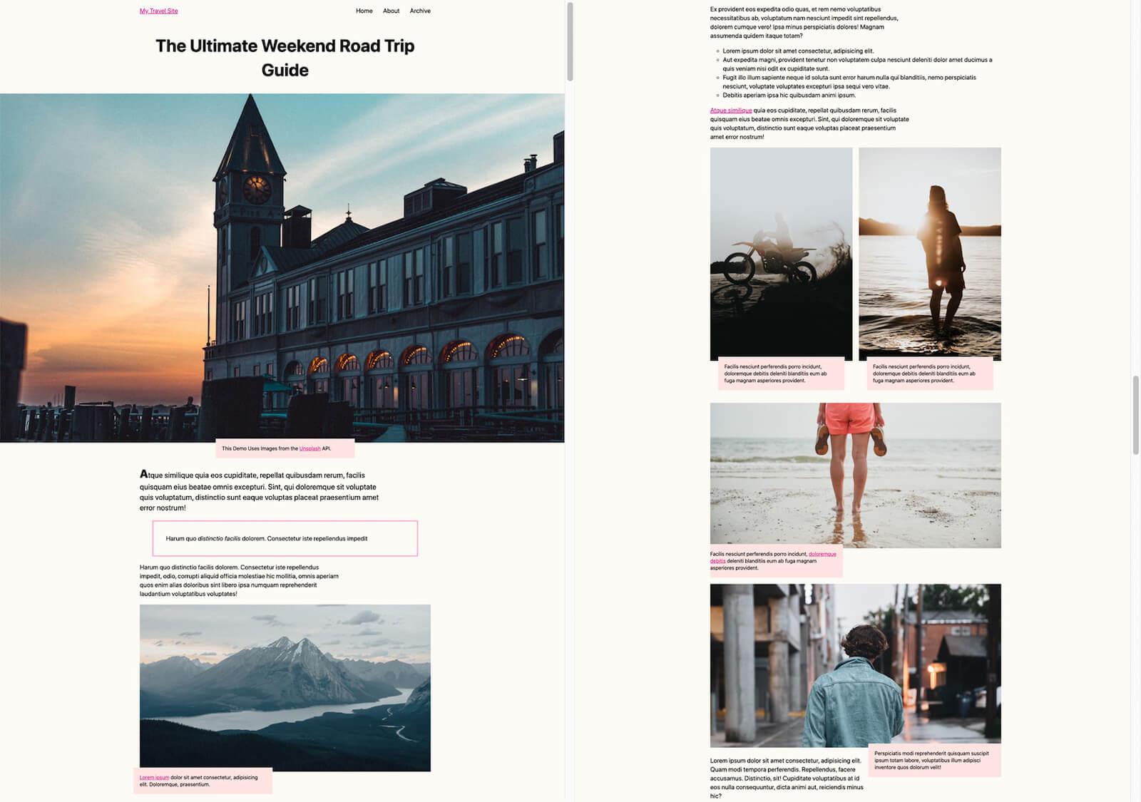 A screenshot of a travel blog.