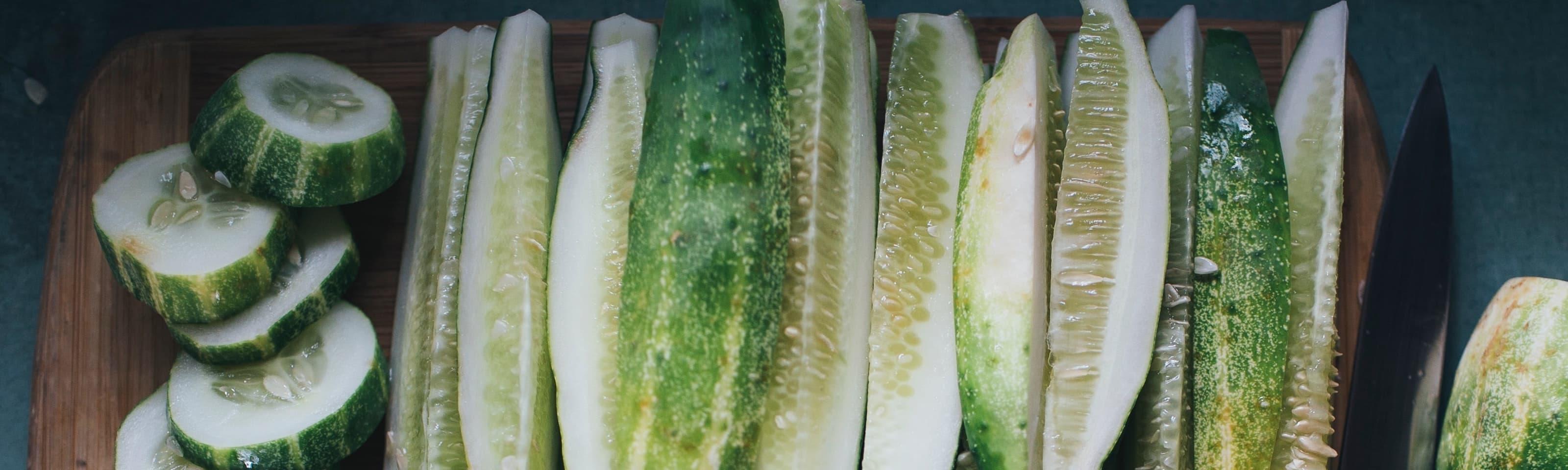 Photo of sliced cucumbers.