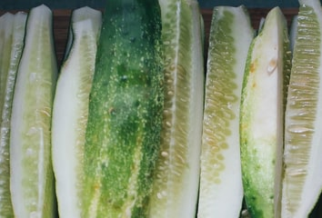 Photo of sliced cucumbers.