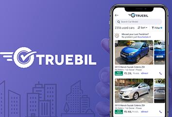 The Truebil logo and a screenshot of the Truebil Lite web app.