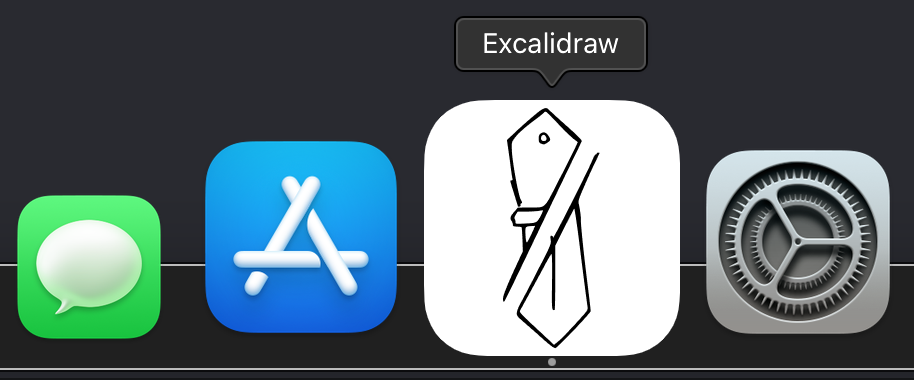 Excalidraw icon on the macOS Dock.
