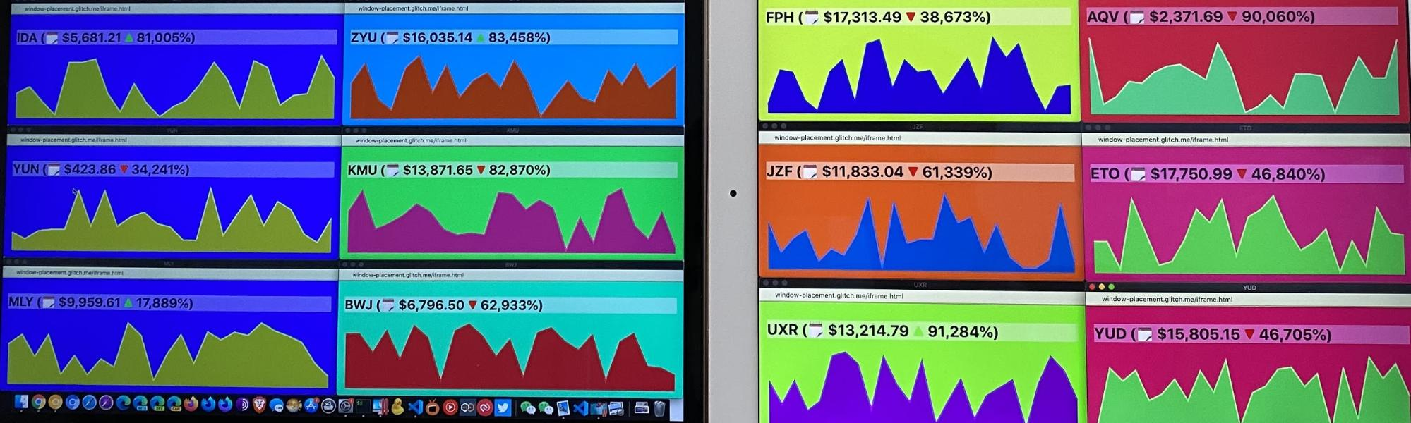 Simulated trading desk showing multiple fake cryptocurrencies and their price charts.