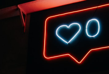 Neon sign with heart and zero