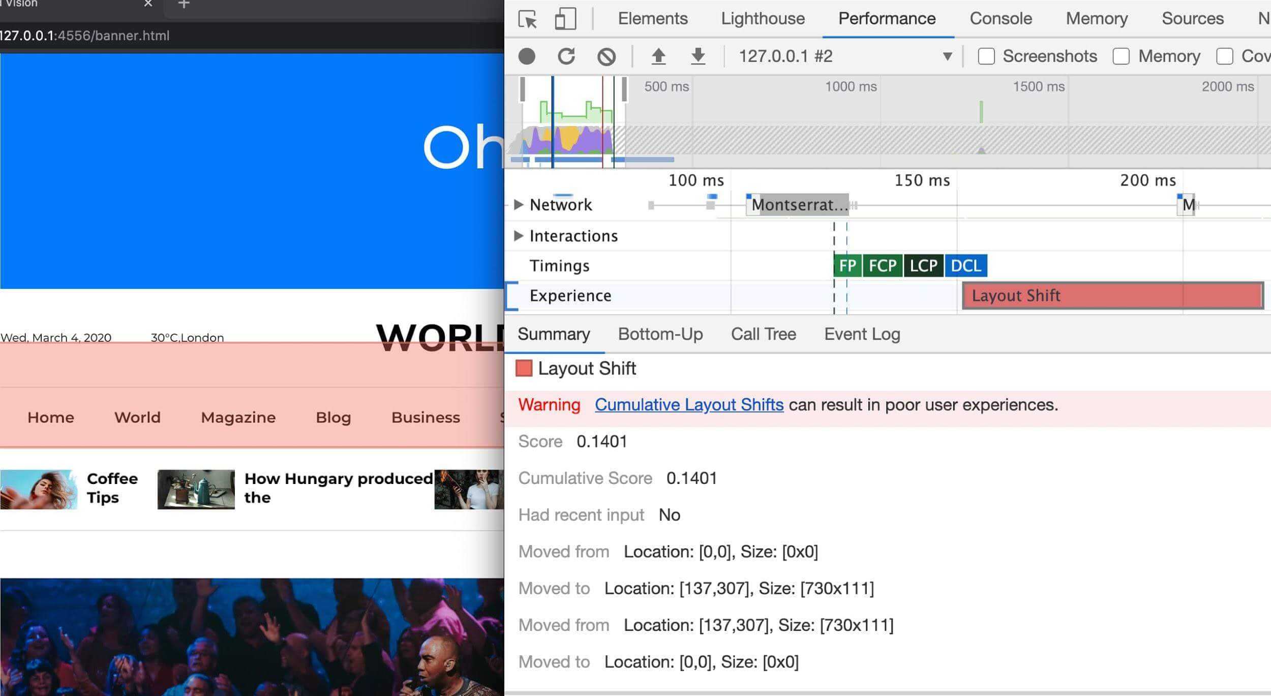 Layout Shift records being displayed in the Chrome DevTools performance panel when expanding the Experience section