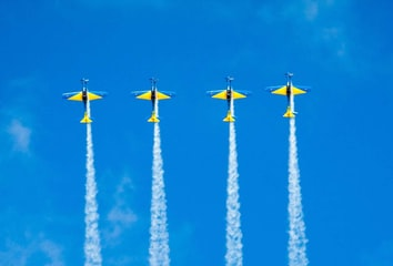 Colorful airplanes flying in sync