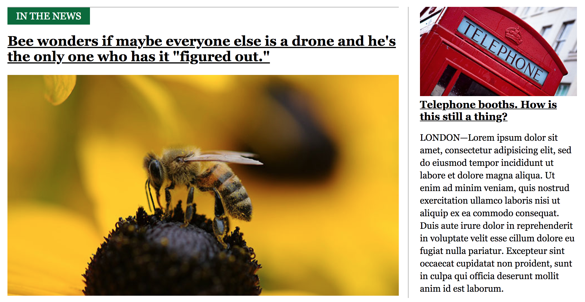A news site with a headline, hero image, and subsections.