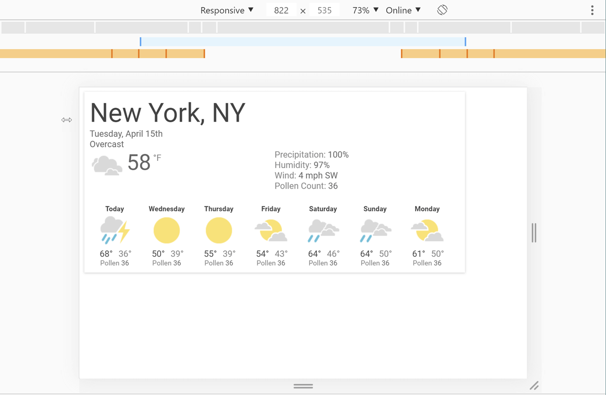 Screenshot of DevTools with our weather app open and a width of 822 pixels selected.