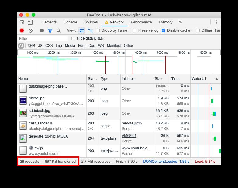 Screenshot of DevTools Network panel.