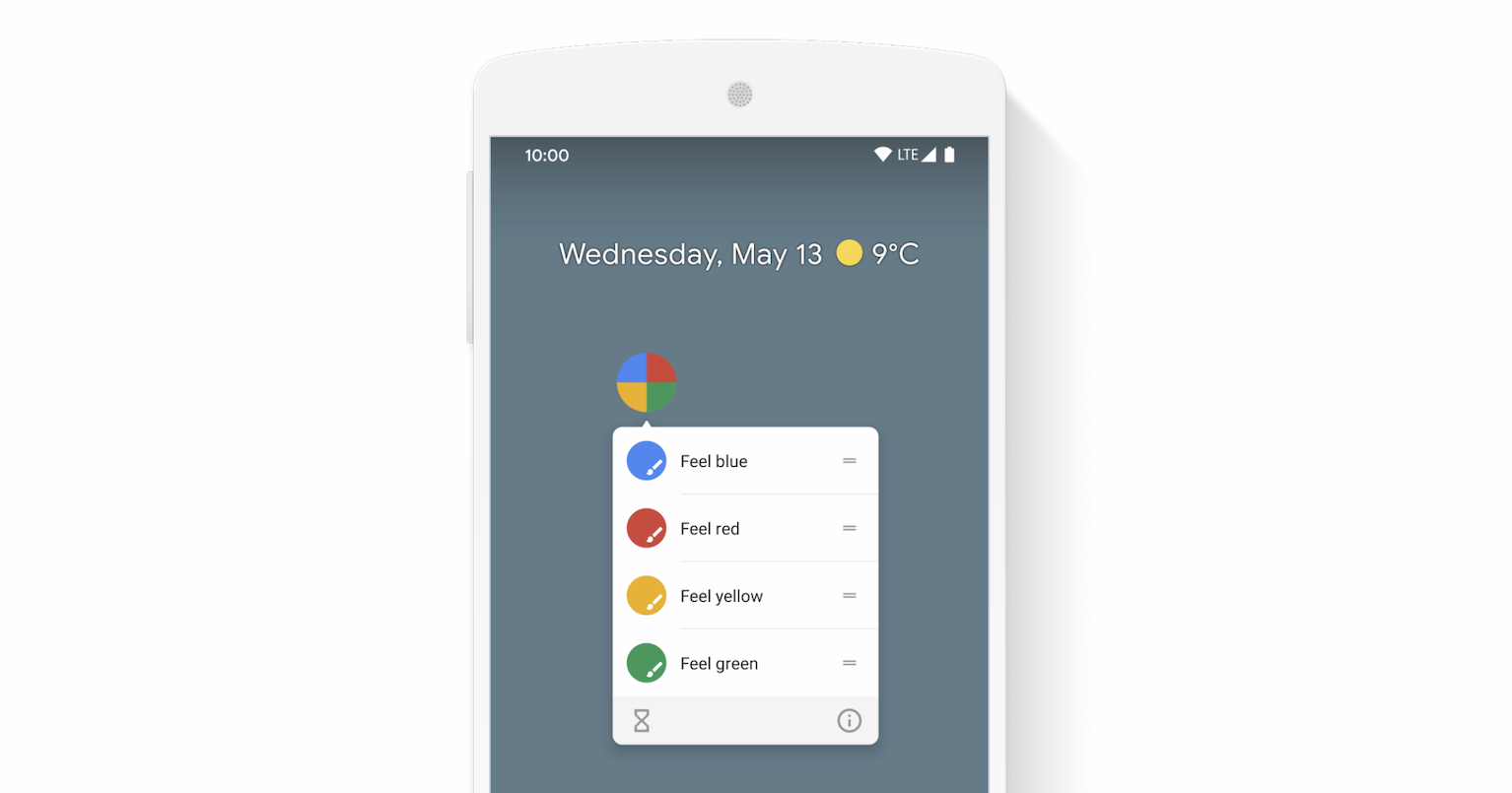 Screenshot of an app shortcuts menu opened on Android