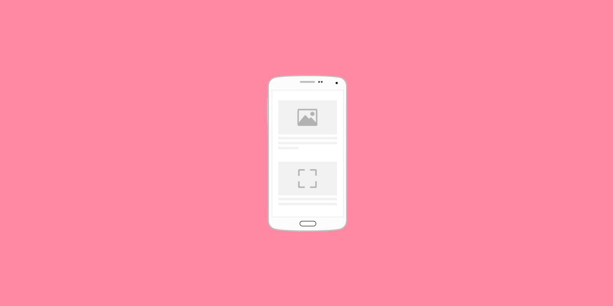 Phone outline with loading image and assets