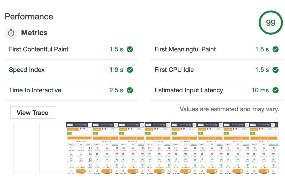 A screenshot of the Lighthouse performance metrics for the OpenSooq PWA.