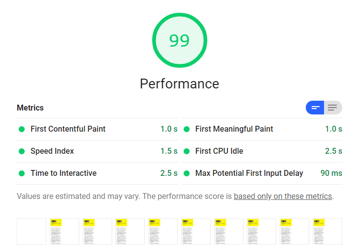 Lighthouse audit showing 1 second FCP and the performance score of 99.