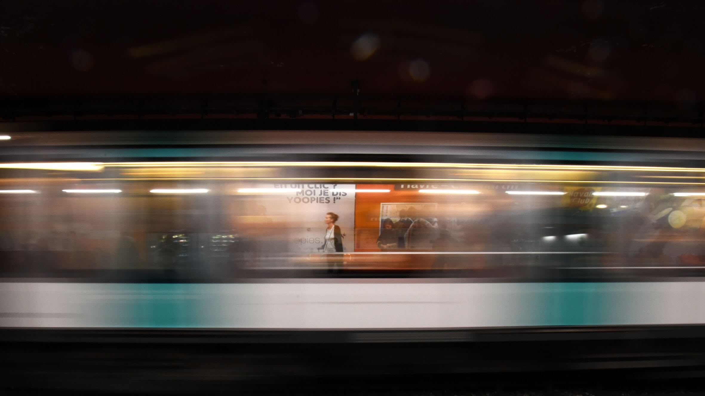 Time-lapse of woman in a train