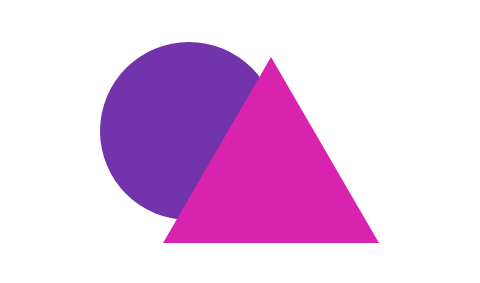A triangle superimposed on a circle. The circle can't be seen through the triangle.