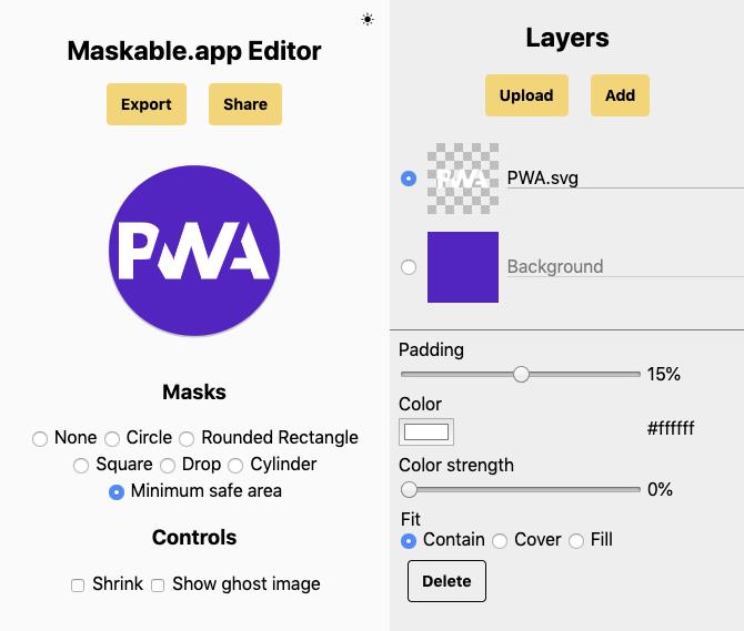 Maskable.app Editor screenshot