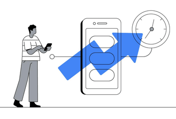 An illustration of a person using a phone.