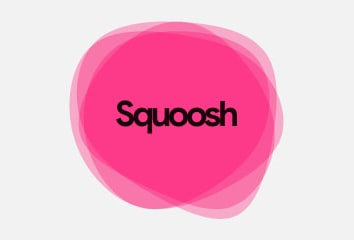 A screen capture of the new Squoosh homepage