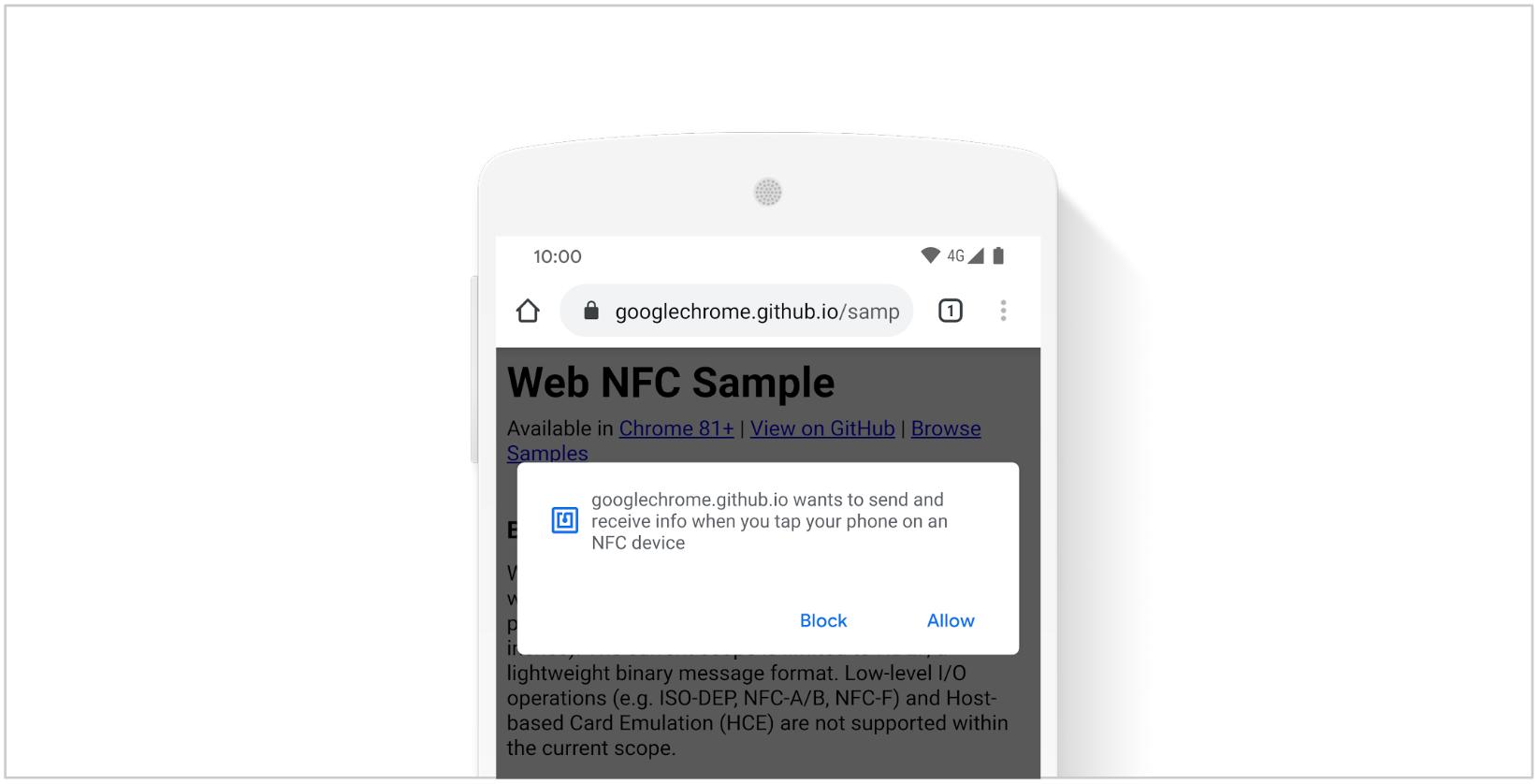 Screenshot of a Web NFC prompt on a website