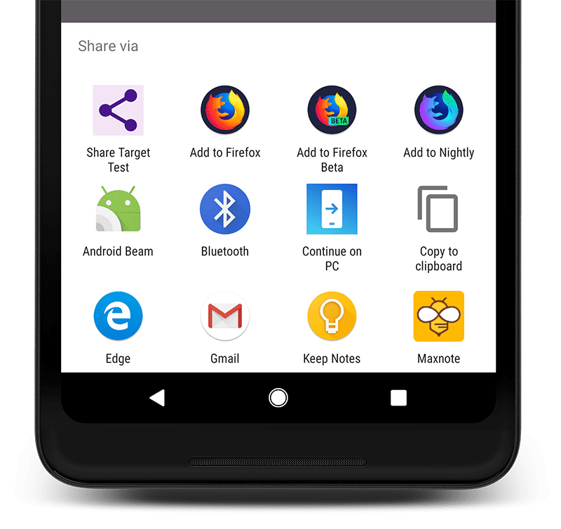Android phone with the 'Share via' drawer open.