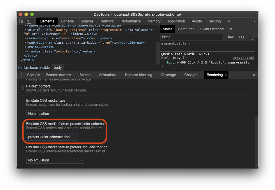 A screenshot of the 'Emulate CSS media feature prefers-color-scheme' option that is located in the Rendering tab of Chrome DevTools