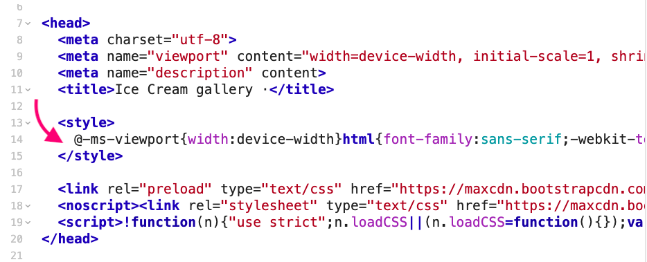 HTML file with critical CSS inlined in the head