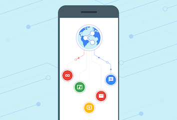 An illustration demonstrating that platform-specific apps can now share content with web apps.