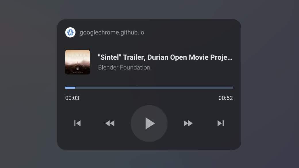 Screenshot of lock screen media controls in Chrome OS